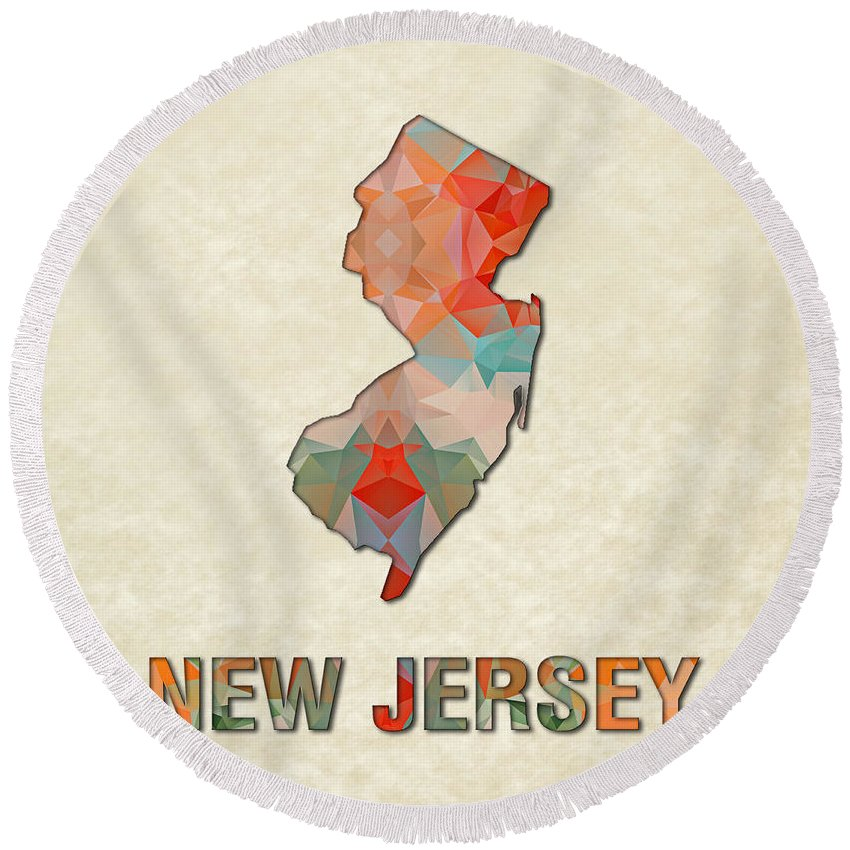 New+jersey State Map United+states America Maps Cartography Geography Municipalities Travel Routes Round Beach Towel featuring the painting Polygon Mosaic Parchment Map New Jersey by Elaine Plesser