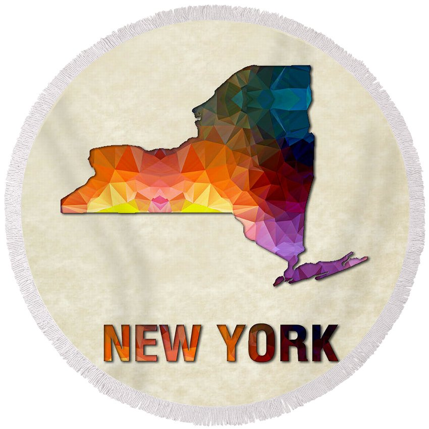 New+york State Map United+states America Maps Cartography Geography Municipalities Travel Routes Round Beach Towel featuring the painting Polygon Mosaic Parchment Map New York by Elaine Plesser