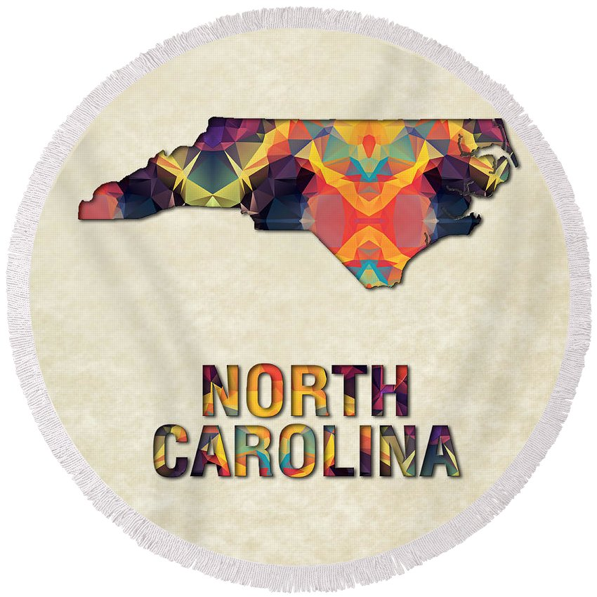 North+carolina State Map United+states America Maps Cartography Geography Municipalities Travel Routes Round Beach Towel featuring the painting Polygon Mosaic Parchment Map North Carolina by Elaine Plesser