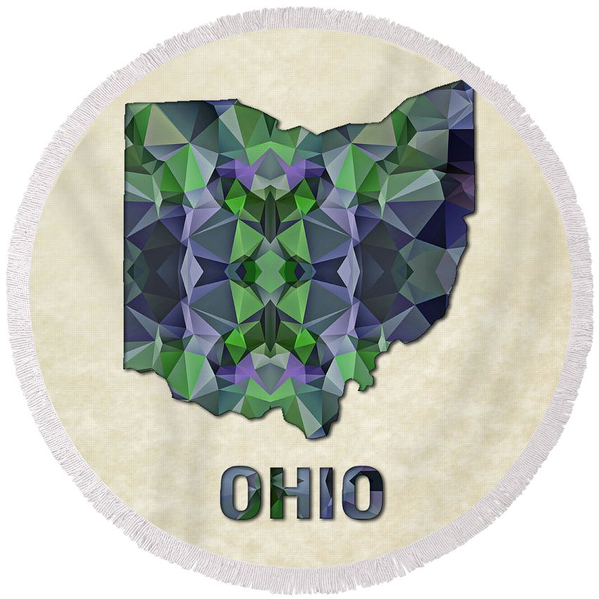 Ohio State Map United+states America Maps Cartography Geography Municipalities Travel Routes Round Beach Towel featuring the painting Polygon Mosaic Parchment Map Ohio by Elaine Plesser
