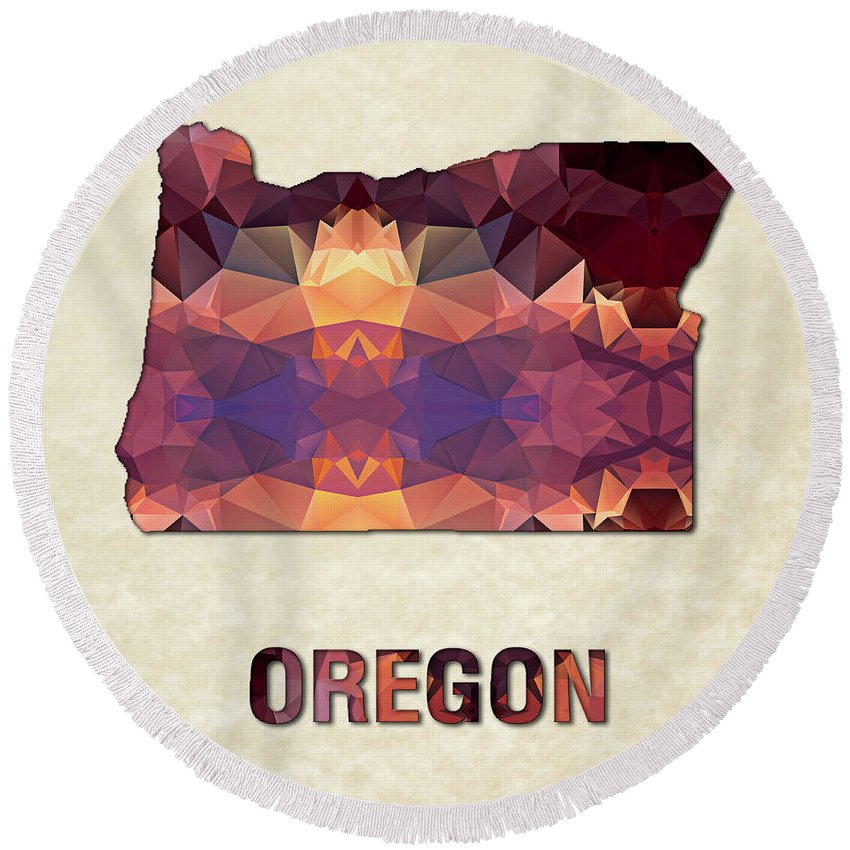 Oregon State Map United+states America Maps Cartography Geography Municipalities Travel Routes Round Beach Towel featuring the painting Polygon Mosaic Parchment Map Oregon by Elaine Plesser