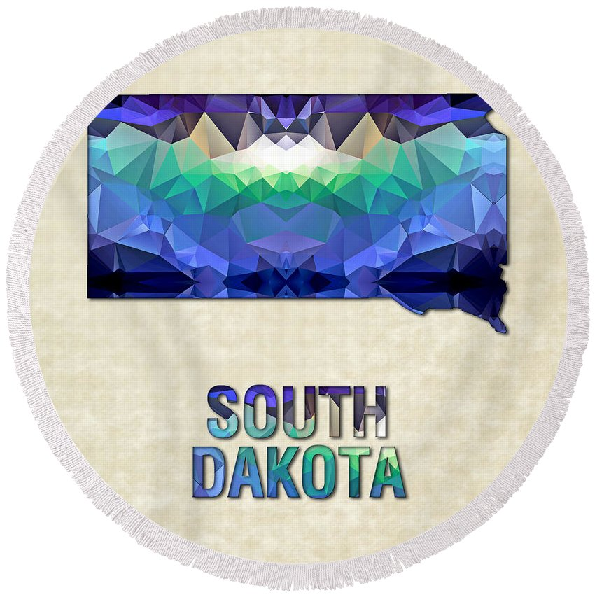South+dakota State Map United+states America Maps Cartography Geography Municipalities Travel Routes Round Beach Towel featuring the painting Polygon Mosaic Parchment Map South Dakota by Elaine Plesser