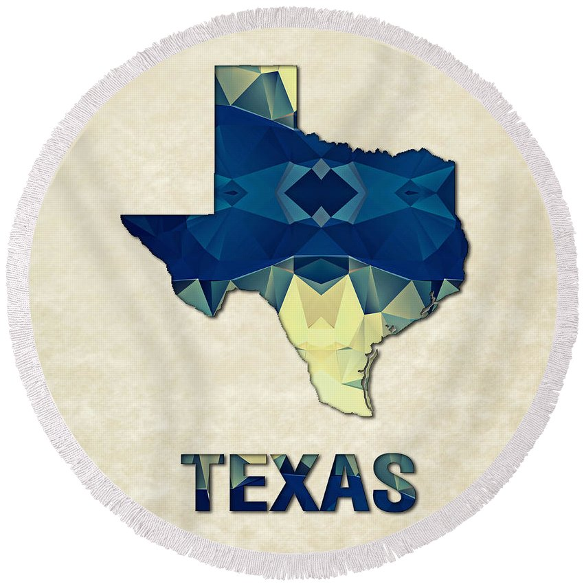 Texas State Map United+states America Maps Cartography Geography Municipalities Travel Routes Round Beach Towel featuring the painting Polygon Mosaic Parchment Map Texas by Elaine Plesser