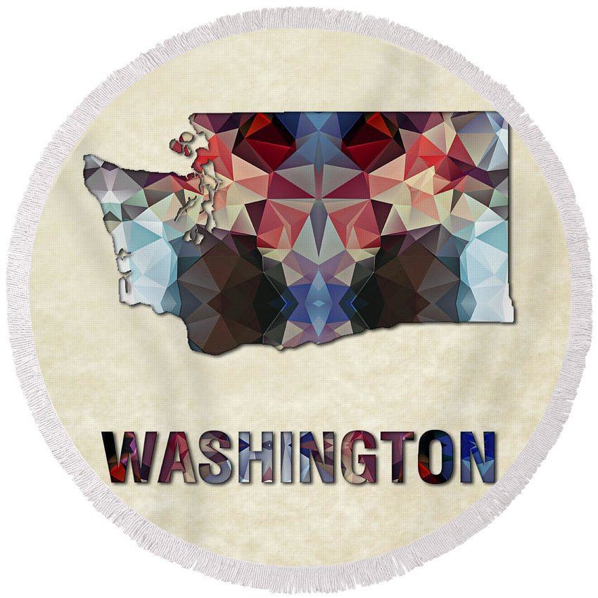 Washington State Map United+states America Maps Cartography Geography Municipalities Travel Routes Round Beach Towel featuring the painting Polygon Mosaic Parchment Map Washington by Elaine Plesser