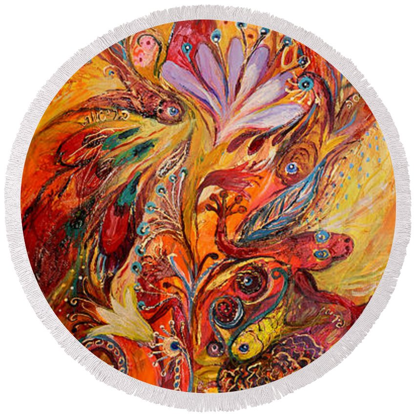 Original Round Beach Towel featuring the painting Polyptich Part IIi - Fire by Elena Kotliarker