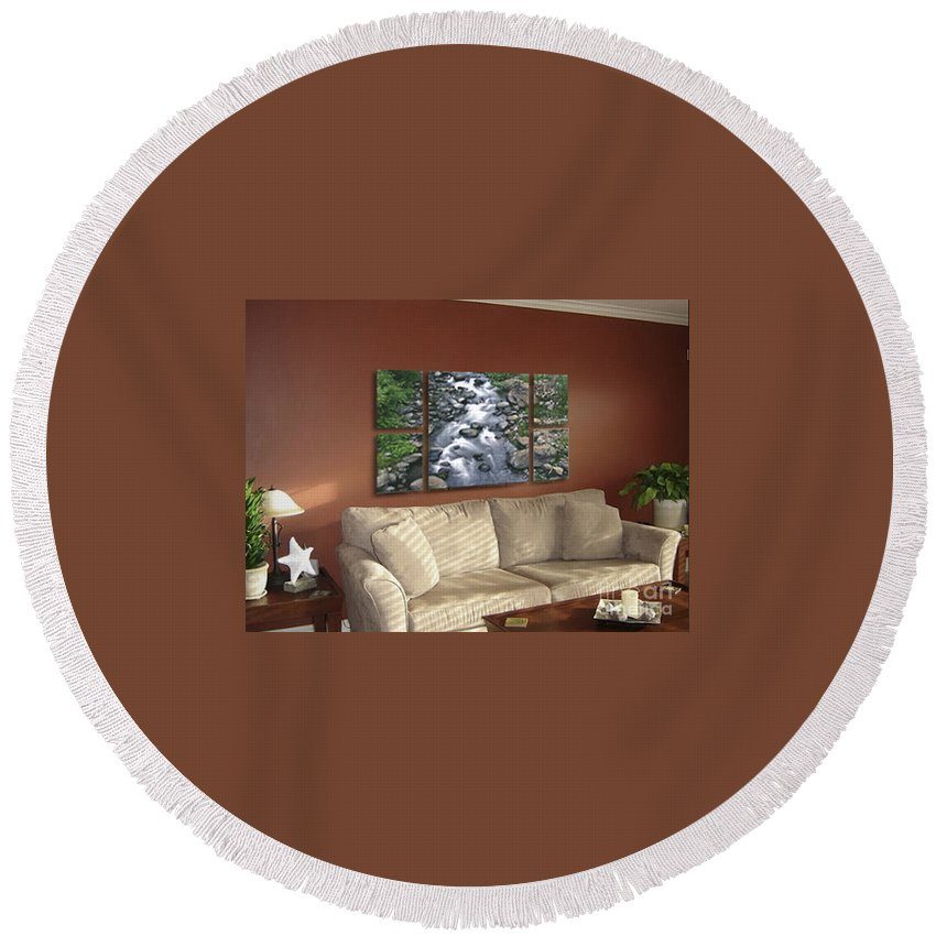 Creek Round Beach Towel featuring the photograph Polyptych Display Sample 02 by Peter Piatt