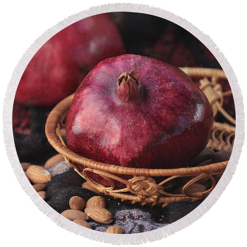 Pomegranate Round Beach Towel featuring the photograph Pomegranates And Almonds by Luv Photography