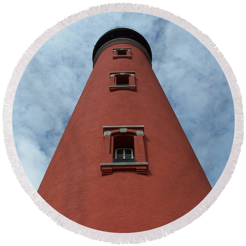 Lighthouse Round Beach Towel featuring the photograph Ponce De Leon Lighthouse by Ken Figurski