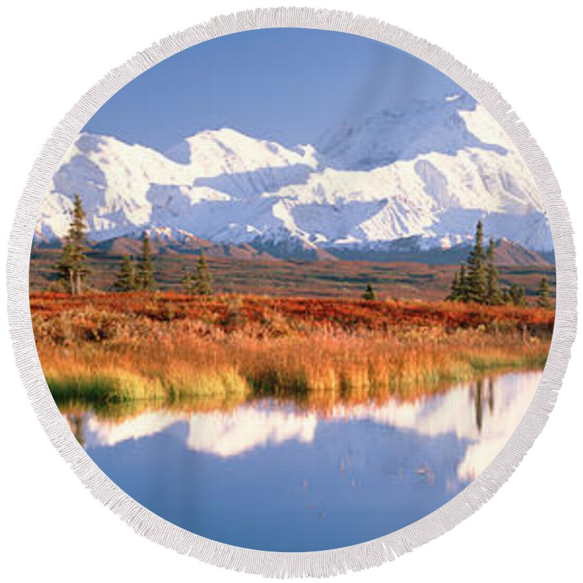 Photography Round Beach Towel featuring the photograph Pond, Alaska Range, Denali National by Panoramic Images