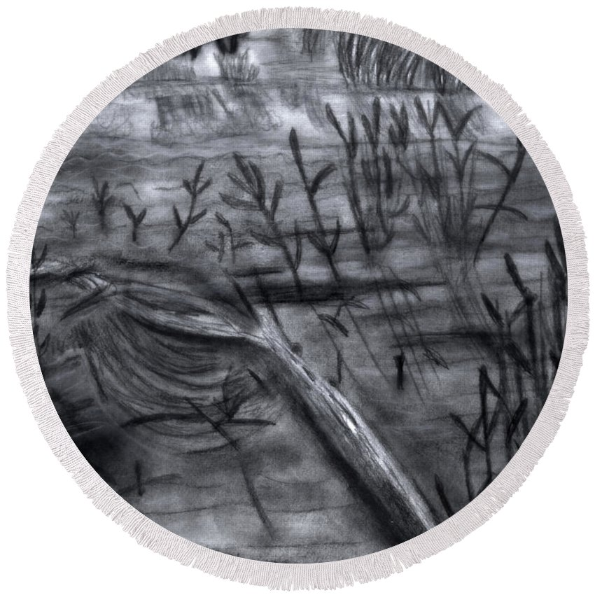 Pond Round Beach Towel featuring the drawing Pond Down The Road by Verana Stark