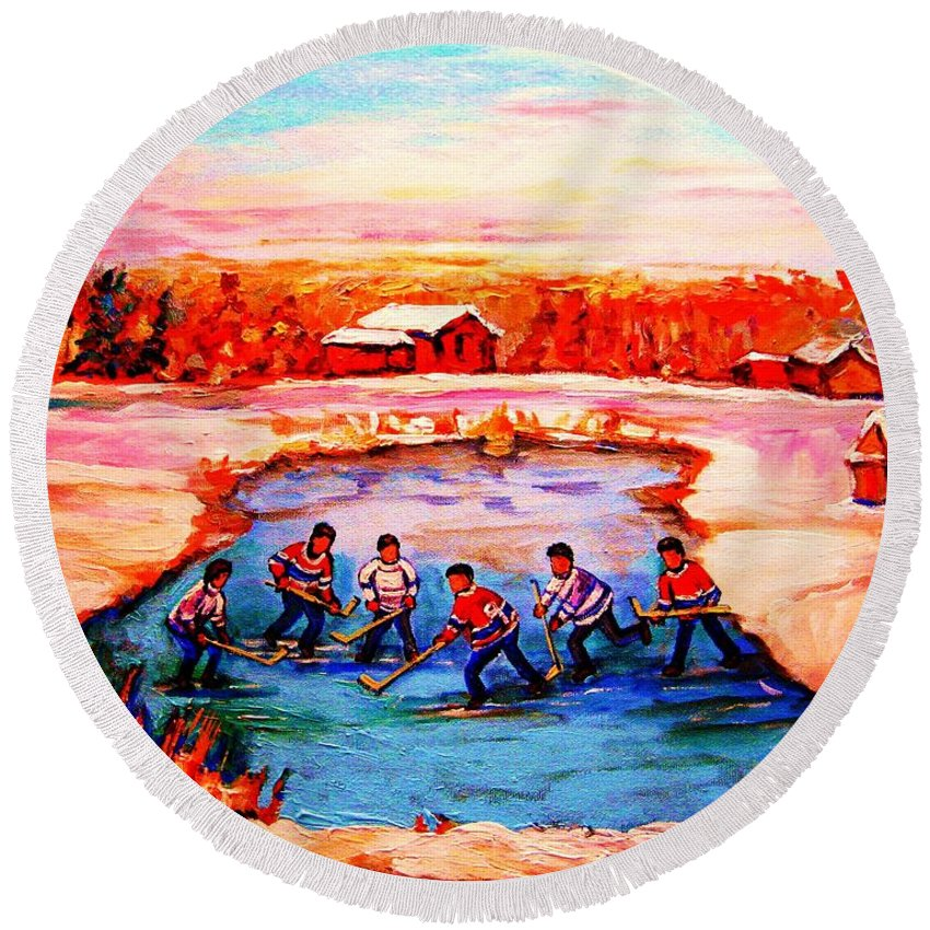 Pond Hockey Round Beach Towel featuring the painting Pond Hockey Game By Montreal Hockey Artist Carole Spandau by Carole Spandau