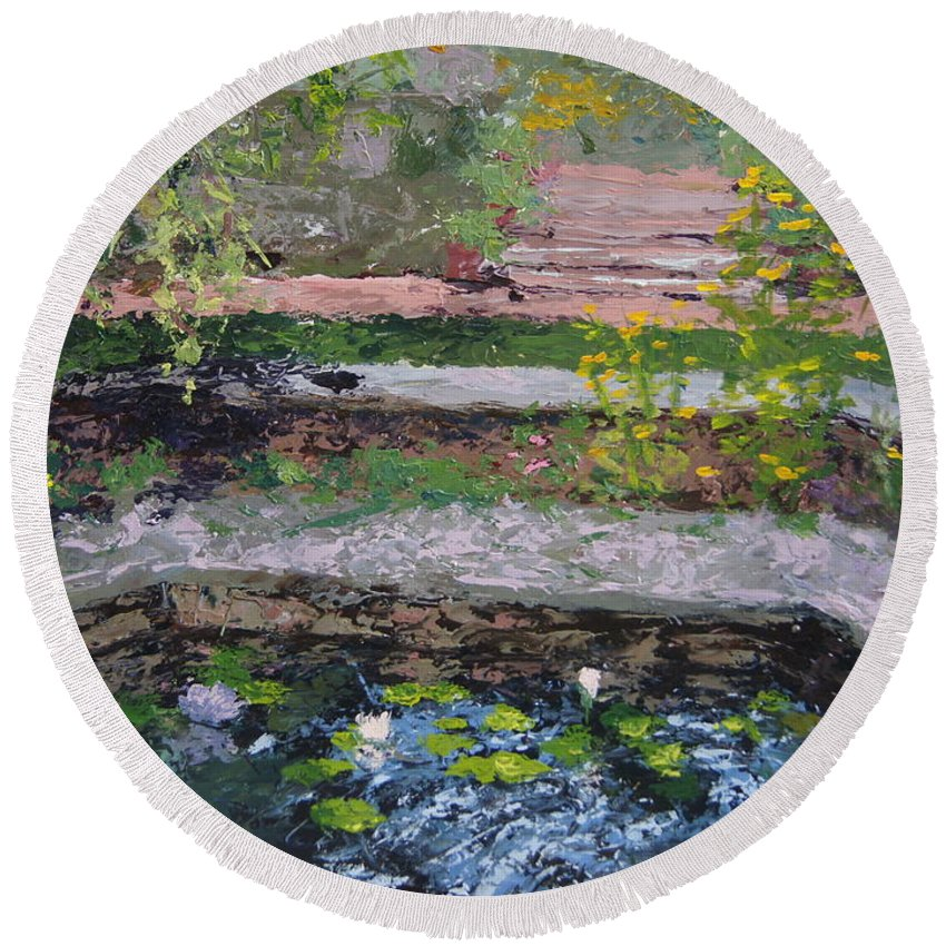 Chicago Botanic Gardens Round Beach Towel featuring the painting Pond In The English Walled Gardens by Mary Haas