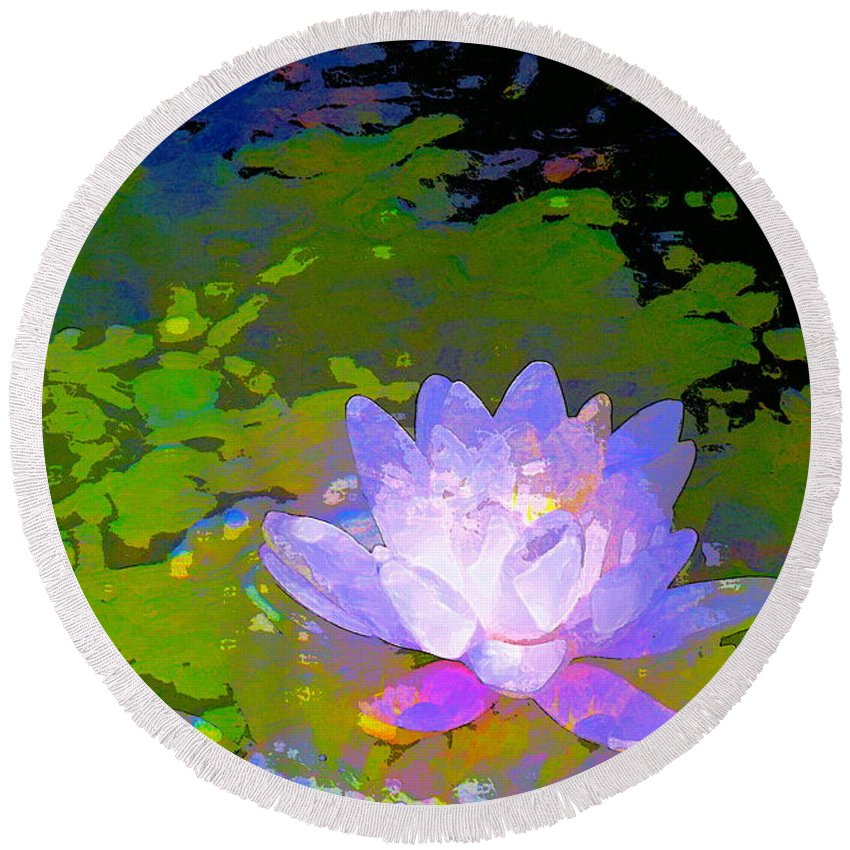 Floral Round Beach Towel featuring the photograph Pond Lily 29 by Pamela Cooper