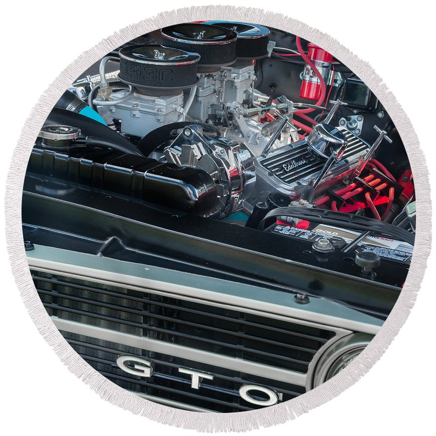 Gto Round Beach Towel featuring the photograph Pontiac G T O by Bill Wakeley