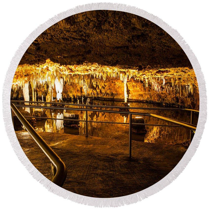 Meramec Caverns Round Beach Towel featuring the photograph Pool Path by Angus Hooper Iii