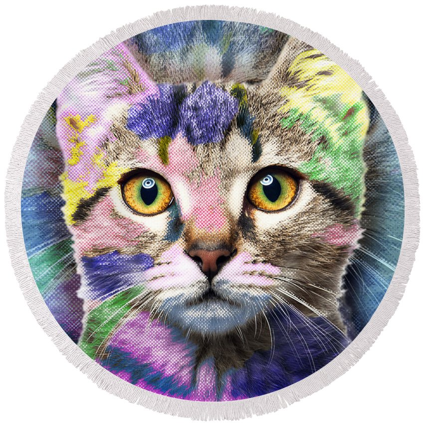Adorable Round Beach Towel featuring the painting Pop Cat by Tony Rubino