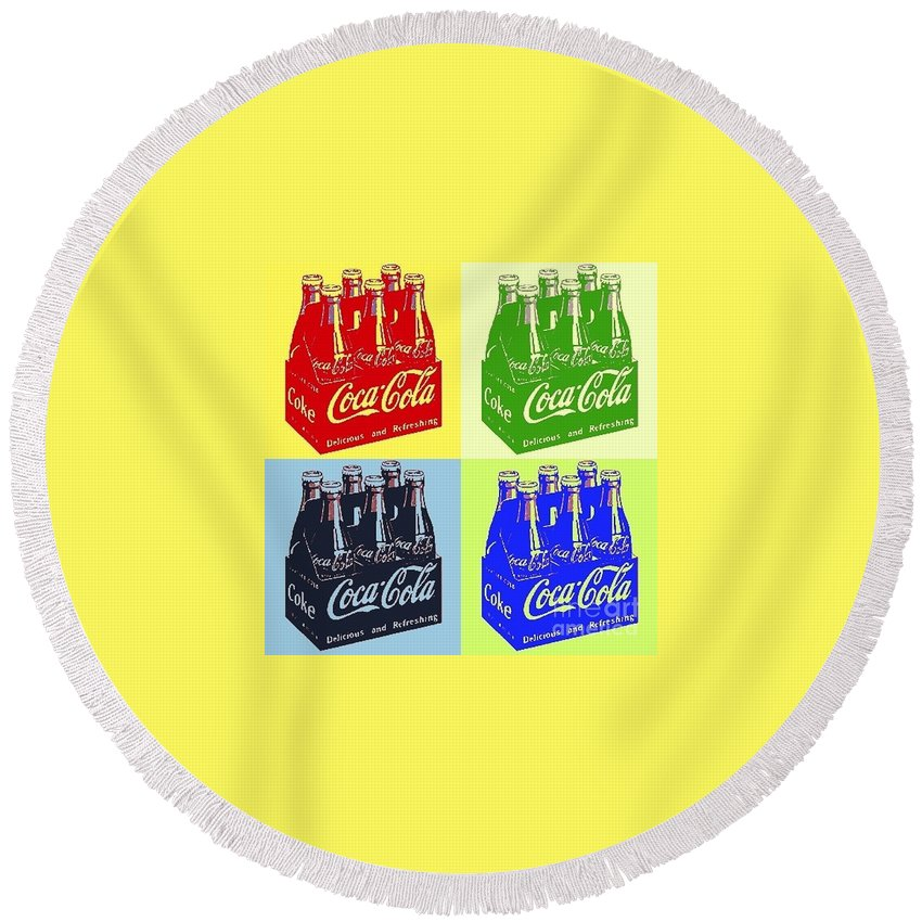 Coca Cola Round Beach Towel featuring the photograph Pop Coke by The Art of Alice Terrill