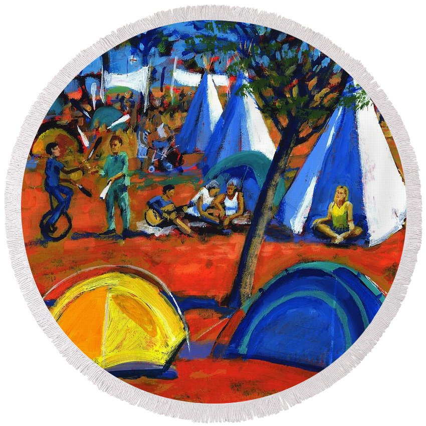 Summer Round Beach Towel featuring the photograph Pop Festival by Paul Powis
