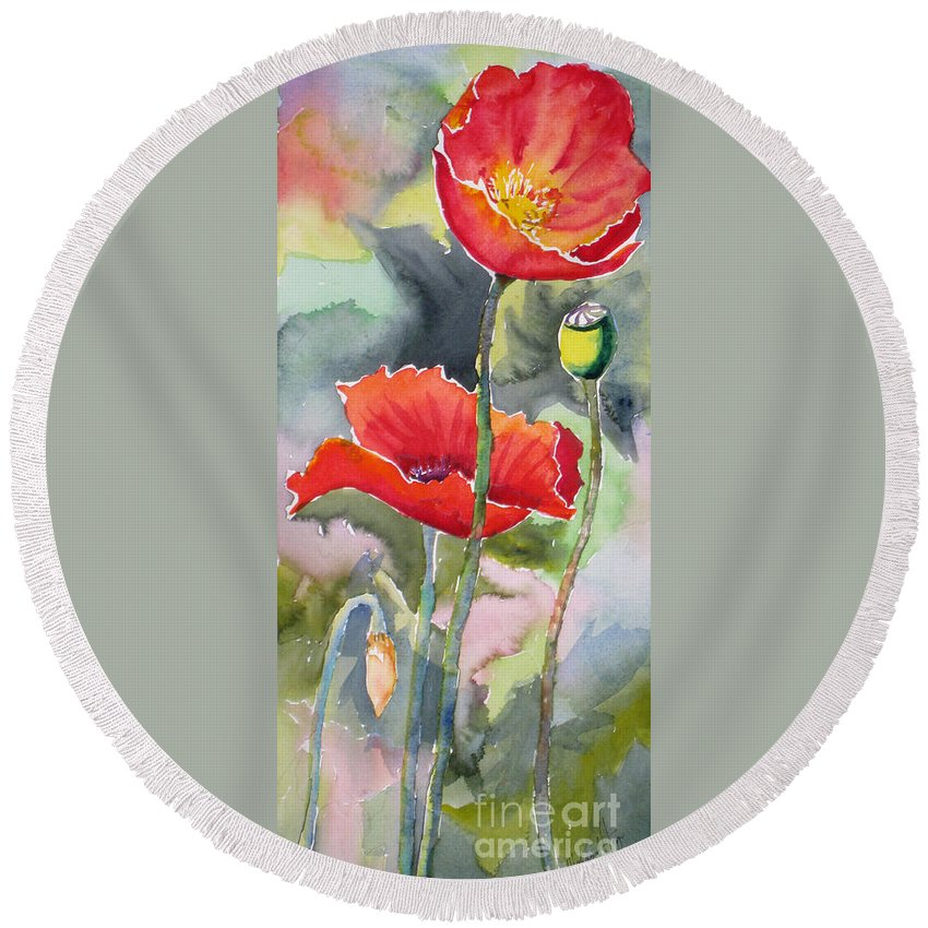 Abstract Round Beach Towel featuring the painting Poppies 3 by Mohamed Hirji
