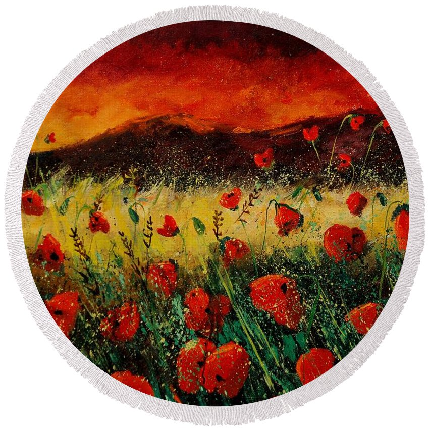 Poppies Round Beach Towel featuring the painting Poppies 68 by Pol Ledent