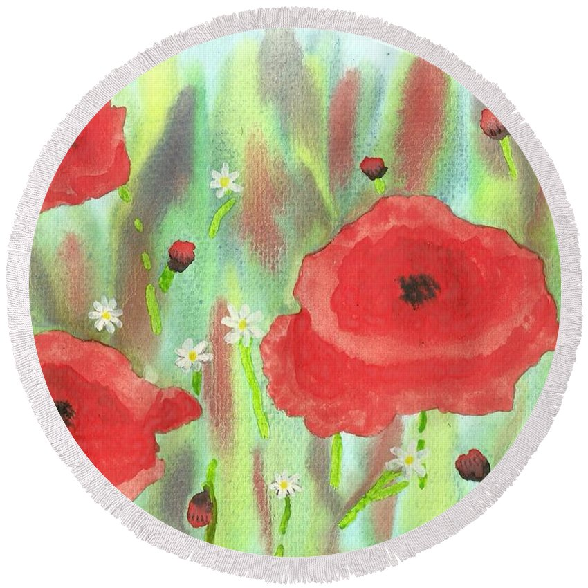 Poppies And Daisies Round Beach Towel featuring the painting Poppies And Daisies by John Williams