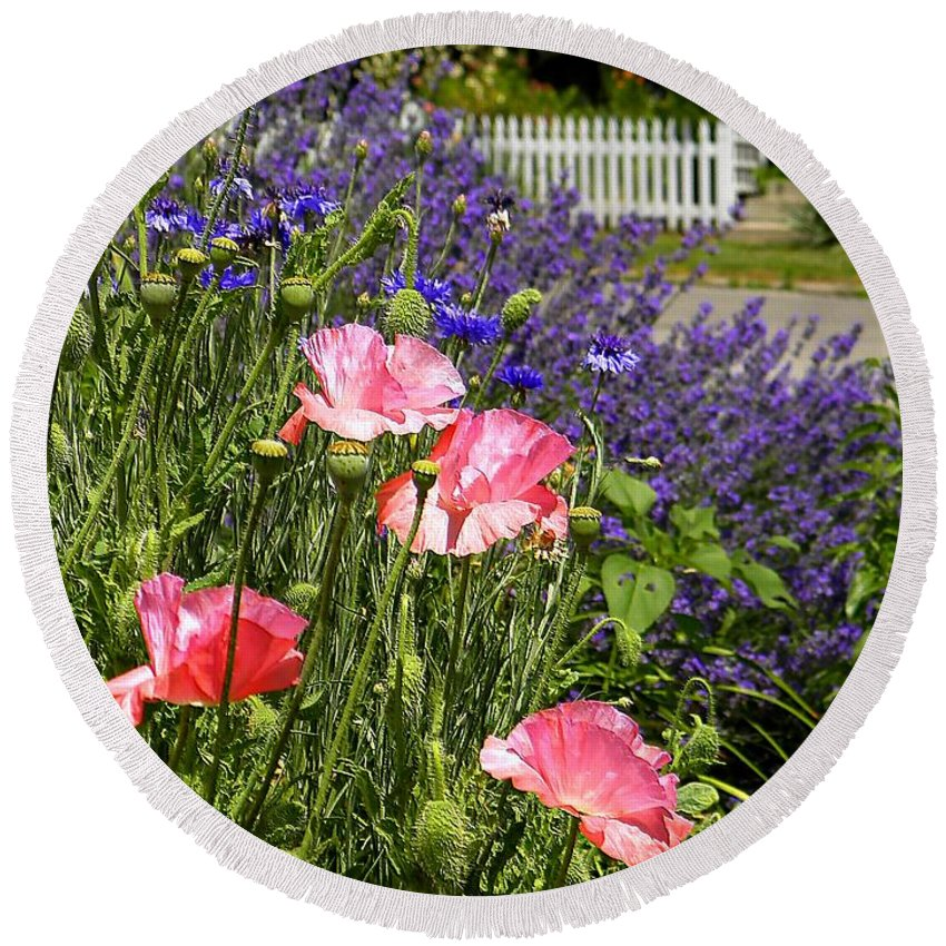 Garden Round Beach Towel featuring the photograph Poppies And Lavender by Chris Berry