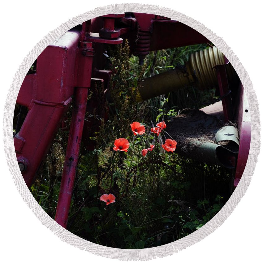 Poppy Papaver Rhoeas Poppies England English Farm Farming Round Beach Towel featuring the photograph Poppies Growing Amongst Farm Machinery In A Farmyard Near Pocklington Yorkshire Wolds East Yorkshire by Michael Walters