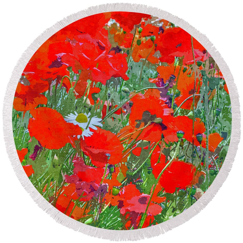 Remembrance Round Beach Towel featuring the digital art Poppies II by David Pringle