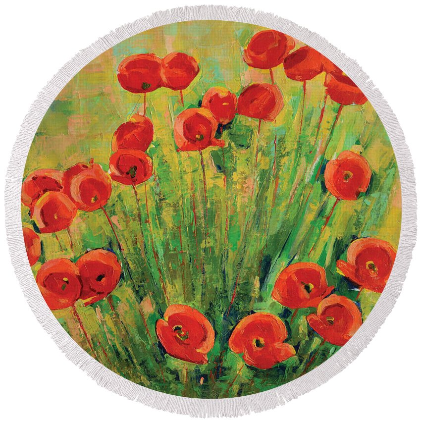 Poppies Round Beach Towel featuring the painting Poppies by Iliyan Bozhanov