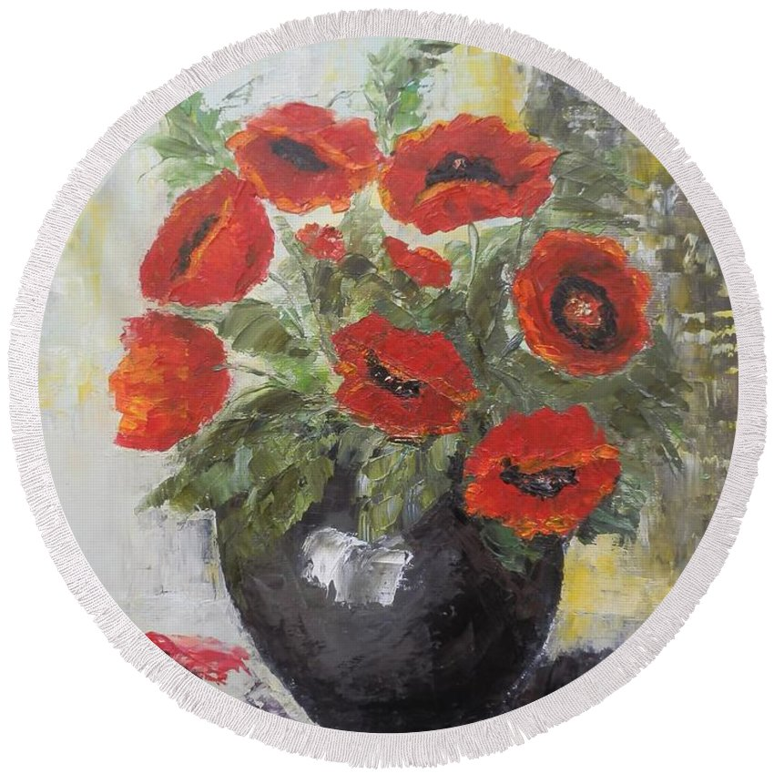 Still Life Round Beach Towel featuring the painting Poppies In A Vase by Maria Karalyos