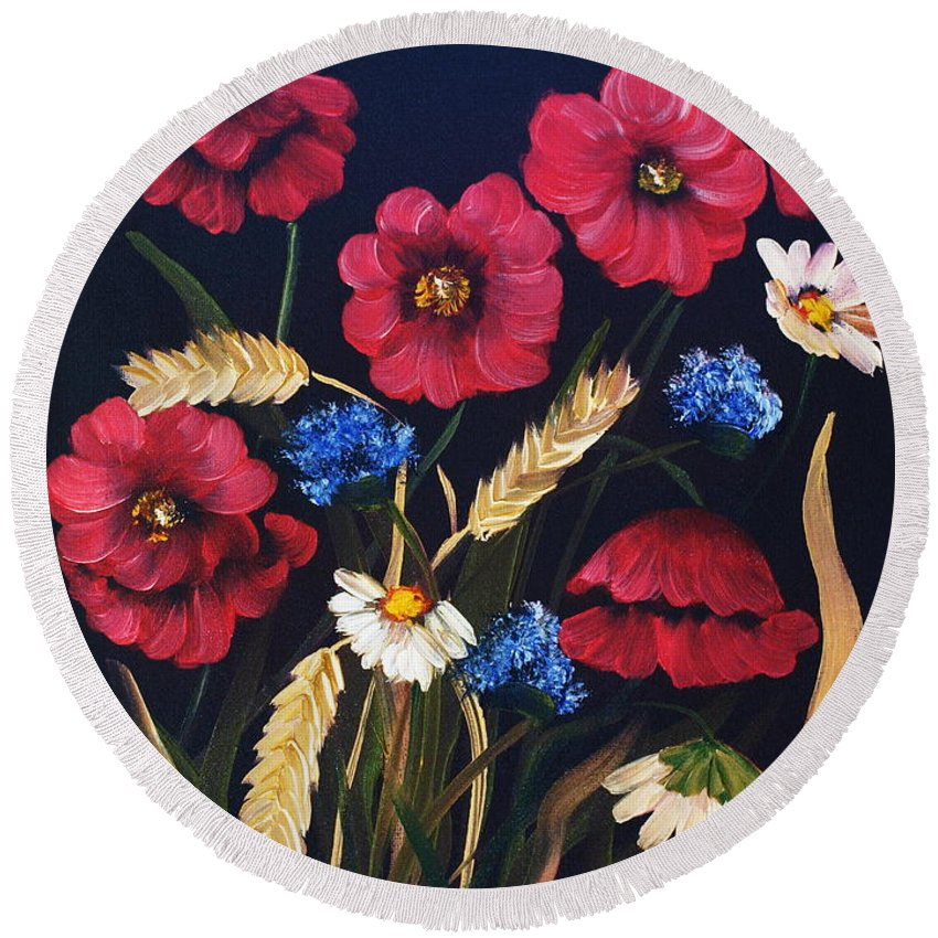 Floral Round Beach Towel featuring the painting Poppies In Oils by Corina Hogan
