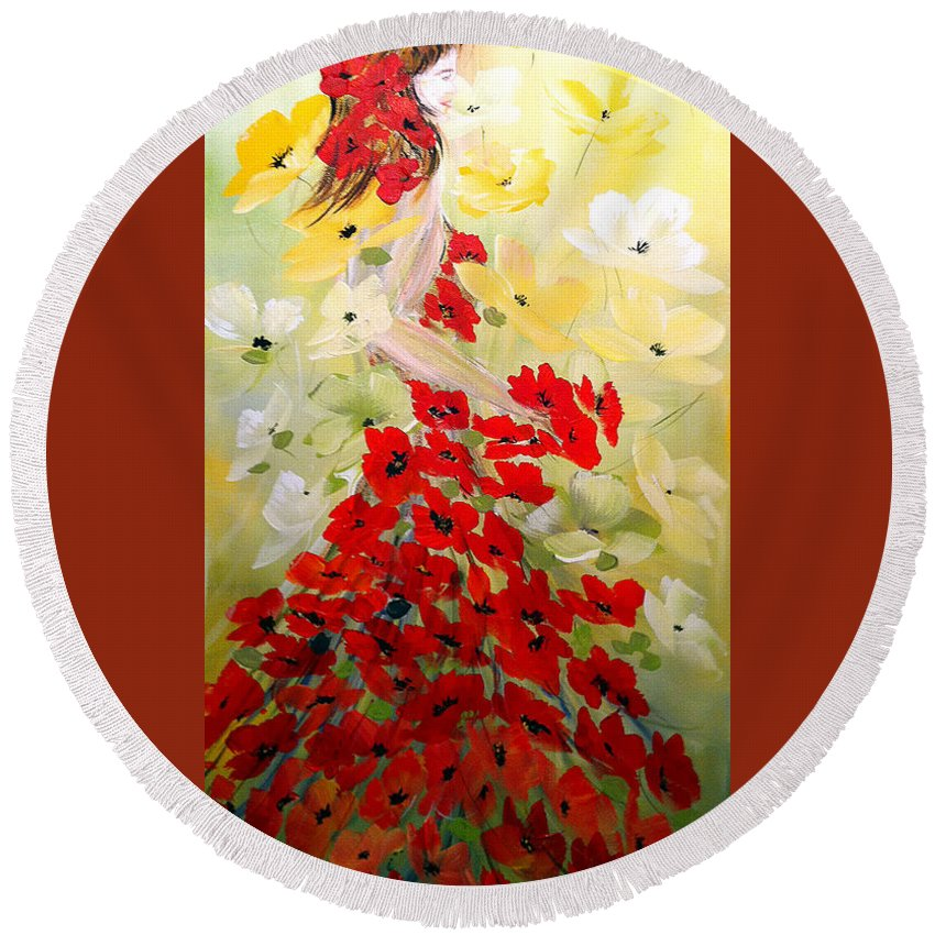 Poppies Lady Round Beach Towel featuring the painting Poppies Lady by Dorothy Maier