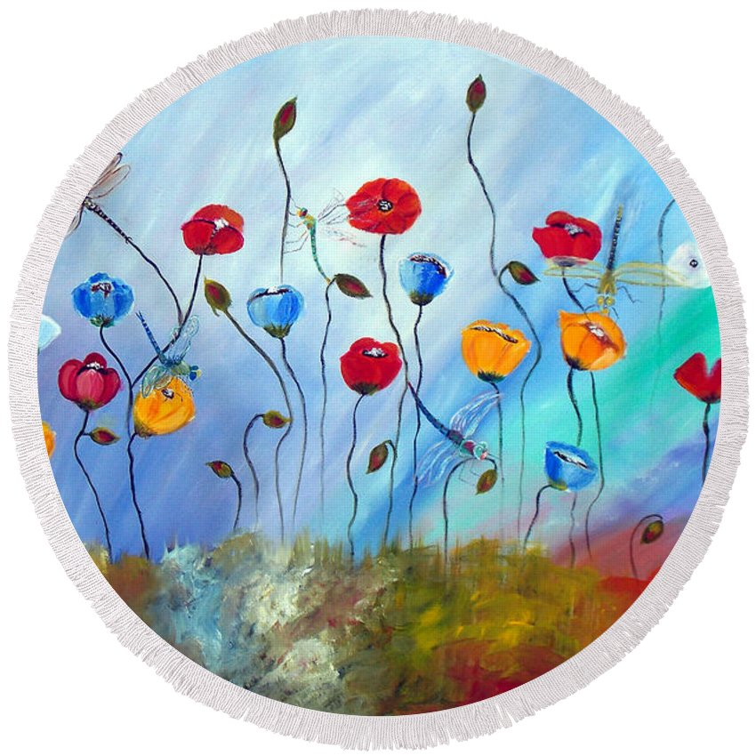 Poppy Round Beach Towel featuring the painting Poppy And Dragonfly by To-Tam Gerwe