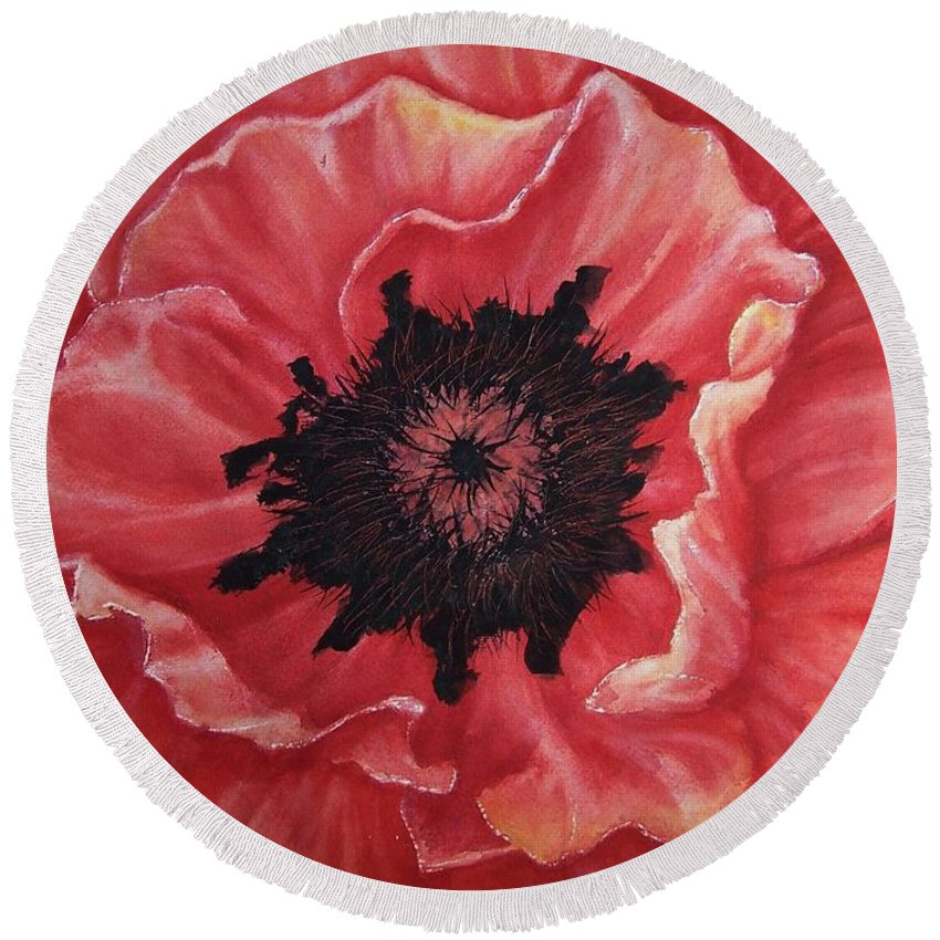 Poppy Round Beach Towel featuring the painting Poppy by Conni Reinecke