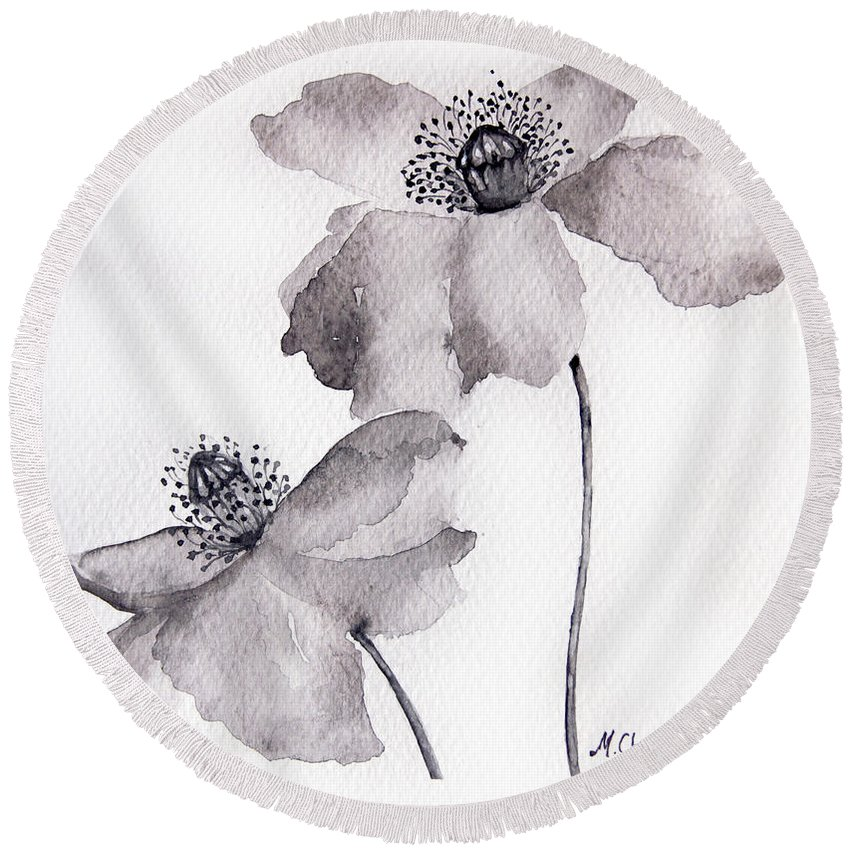 Original Round Beach Towel featuring the painting Poppy Flower In Black by Mahsa Watercolor Artist