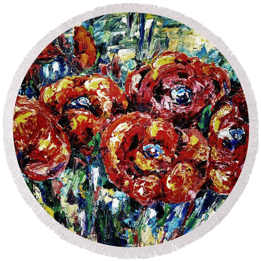 Design Round Beach Towel featuring the painting Poppy Red Flowers by OLena Art Brand