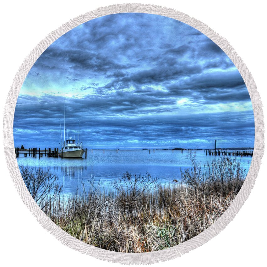 Messick Point Round Beach Towel featuring the photograph Poquoson Yacht On Stormy Morning by Greg Hager