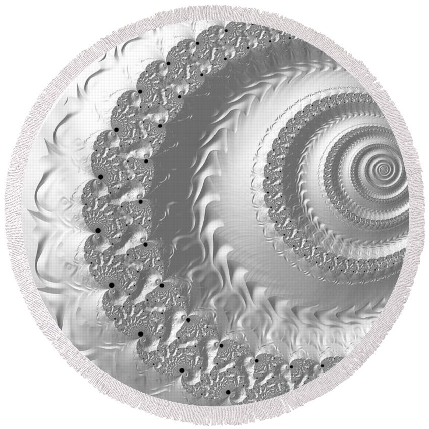 Fractal Round Beach Towel featuring the digital art Porcelain by Vix Edwards