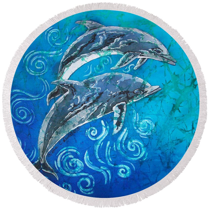 Porpoise Round Beach Towel featuring the painting Porpoise Pair by Sue Duda