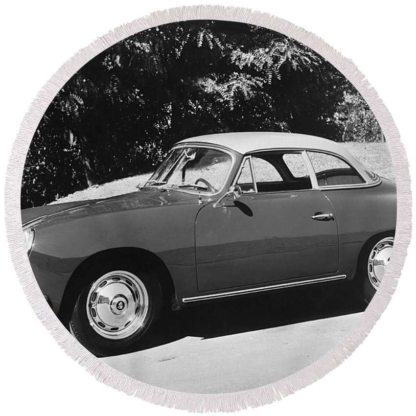1950s Round Beach Towel featuring the photograph Porsche 356 Hardtop by Underwood Archives