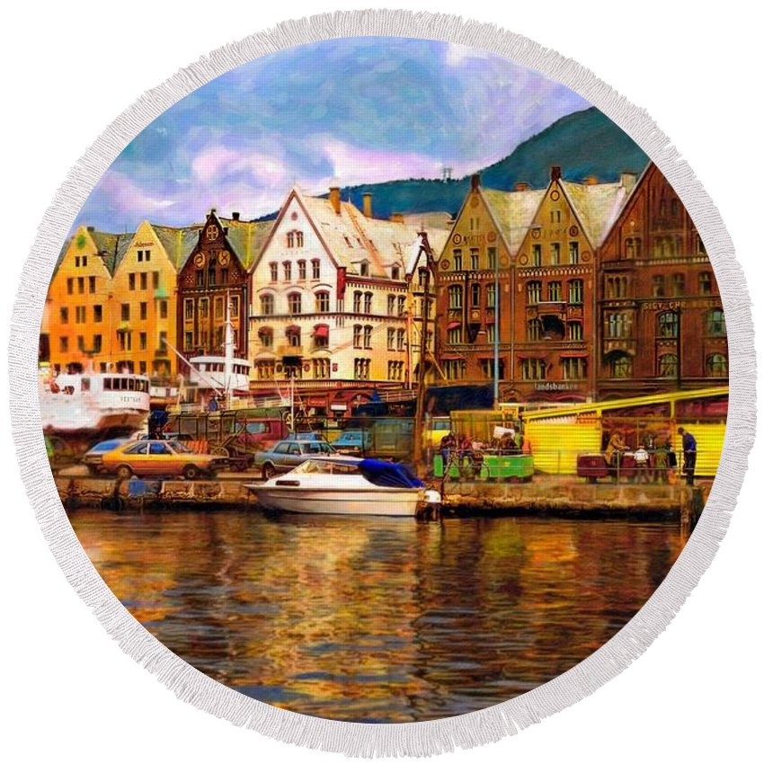 Alesund Round Beach Towel featuring the photograph Port Life Watercolor by Steve Harrington