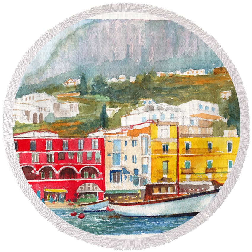 Port Round Beach Towel featuring the painting Port Of Capri by Dai Wynn