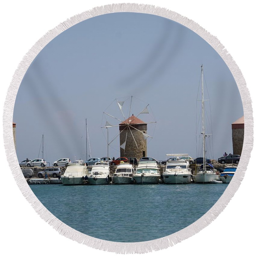 Windmills Round Beach Towel featuring the photograph Port Of The Myloi - Rhodos City by Christiane Schulze Art And Photography