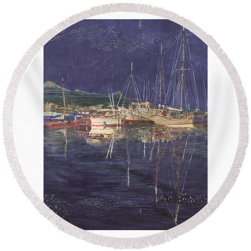 I Just Ordered A Shower Curtain For Myself With This Image On It Round Beach Towel featuring the painting Stary Port Orchard Night by Jack Pumphrey