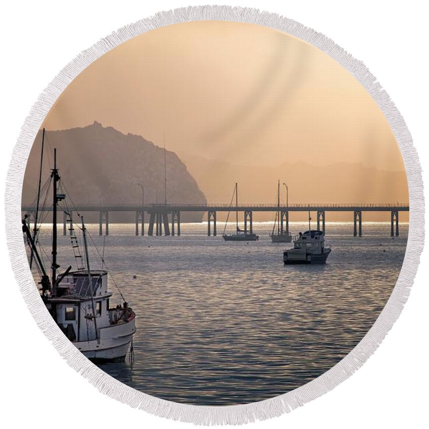 Port San Luis Round Beach Towel featuring the photograph Port San Luis At Dawn 010 by Steven Clark