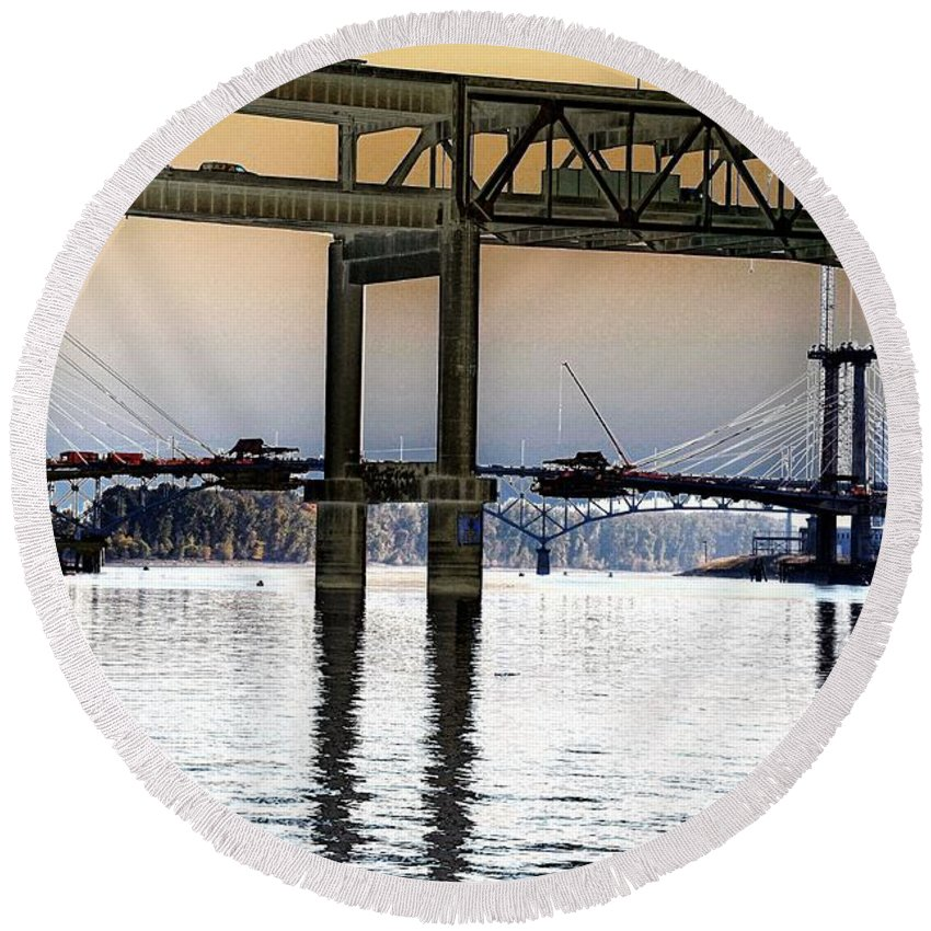 Portland Round Beach Towel featuring the photograph Portland Bridges by Rich Bodane