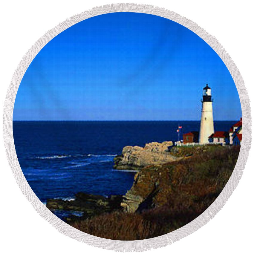 Aerial View Round Beach Towel featuring the digital art Portland Head Light Panoramic View by Don Kuing