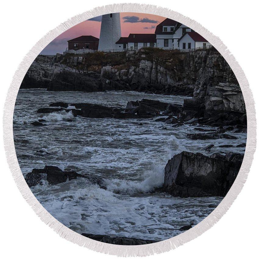 Water Round Beach Towel featuring the photograph Portland Head Lighthouse Sunset by Erika Fawcett
