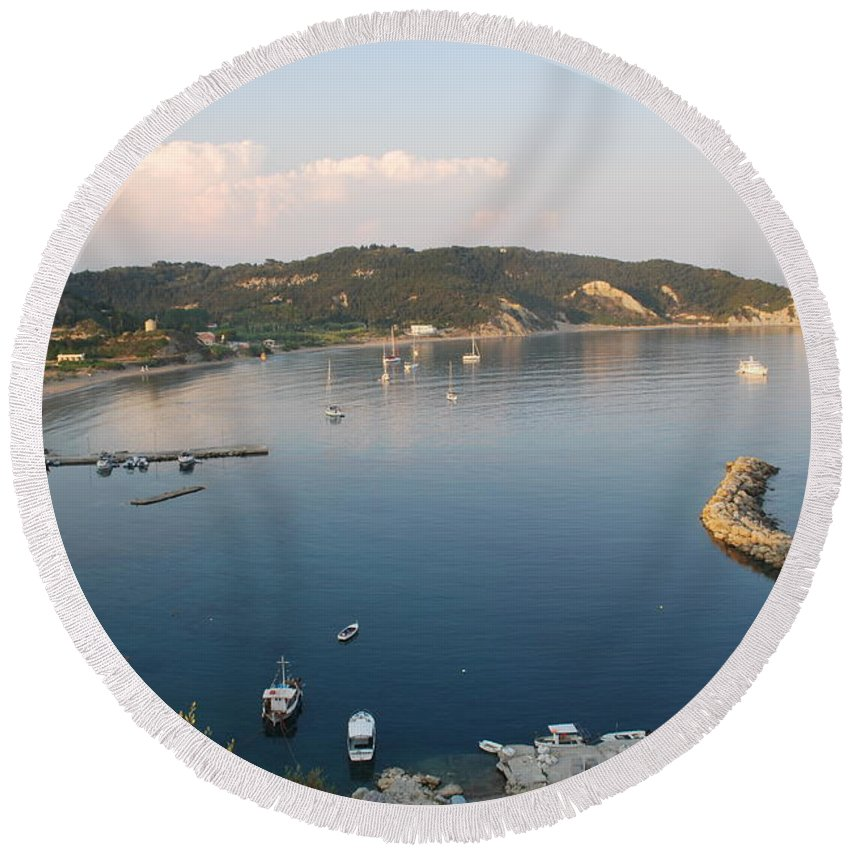 Seascape Round Beach Towel featuring the photograph Porto Bay by George Katechis