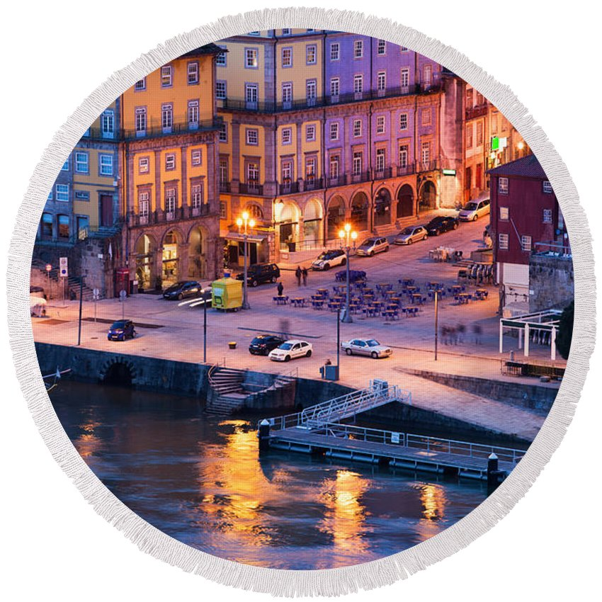 Porto Round Beach Towel featuring the photograph Porto Old Town In Portugal At Dusk by Artur Bogacki